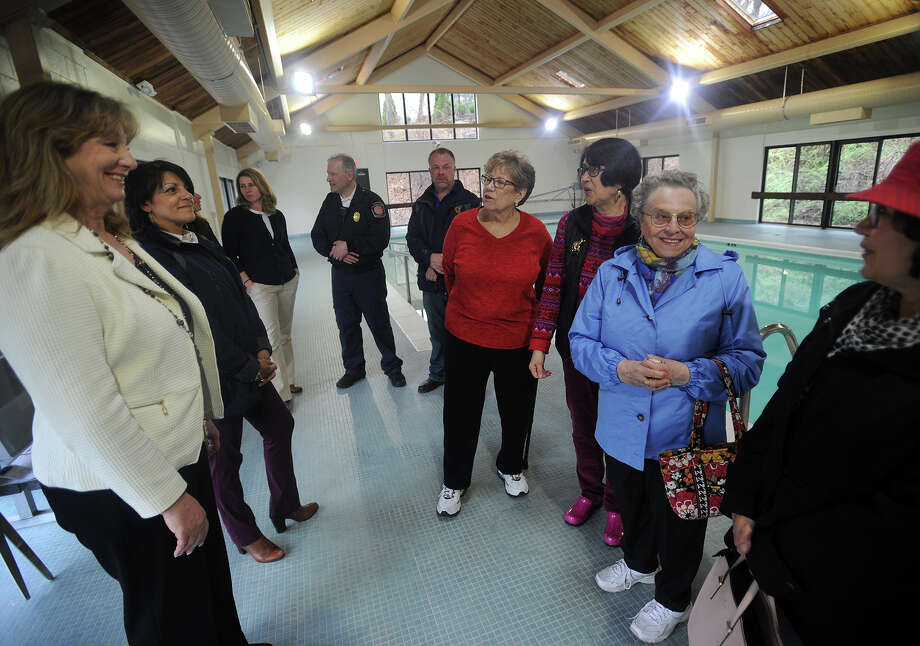 From left; Stratford Mayor Laura Hoydick and Public Works Deputy Director Raynae Serra talk with Ella Grasso Center pool users Carol Bradley, Zoe Ward, Mary Memoli, and Josie Gaspar at the ceremony announcing the pool's re-opening to the public in Stratford, Conn. on Wednesday, April 25, 2018. Photo: Brian A. Pounds, Hearst Connecticut Media / Connecticut Post