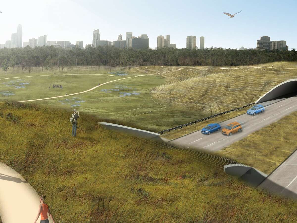 """A rendering of the """"central connector"""" land bridge that will reconnect the north and south portions of Memorial Park across Memorial Drive with a prairie ecosystem and drainage infrastructure."""