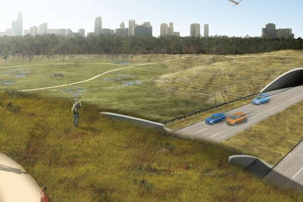 "A rendering of the ""central connector"" land bridge that will reconnect the north and south portions of Memorial Park across Memorial Drive with a prairie ecosystem and drainage infrastructure."