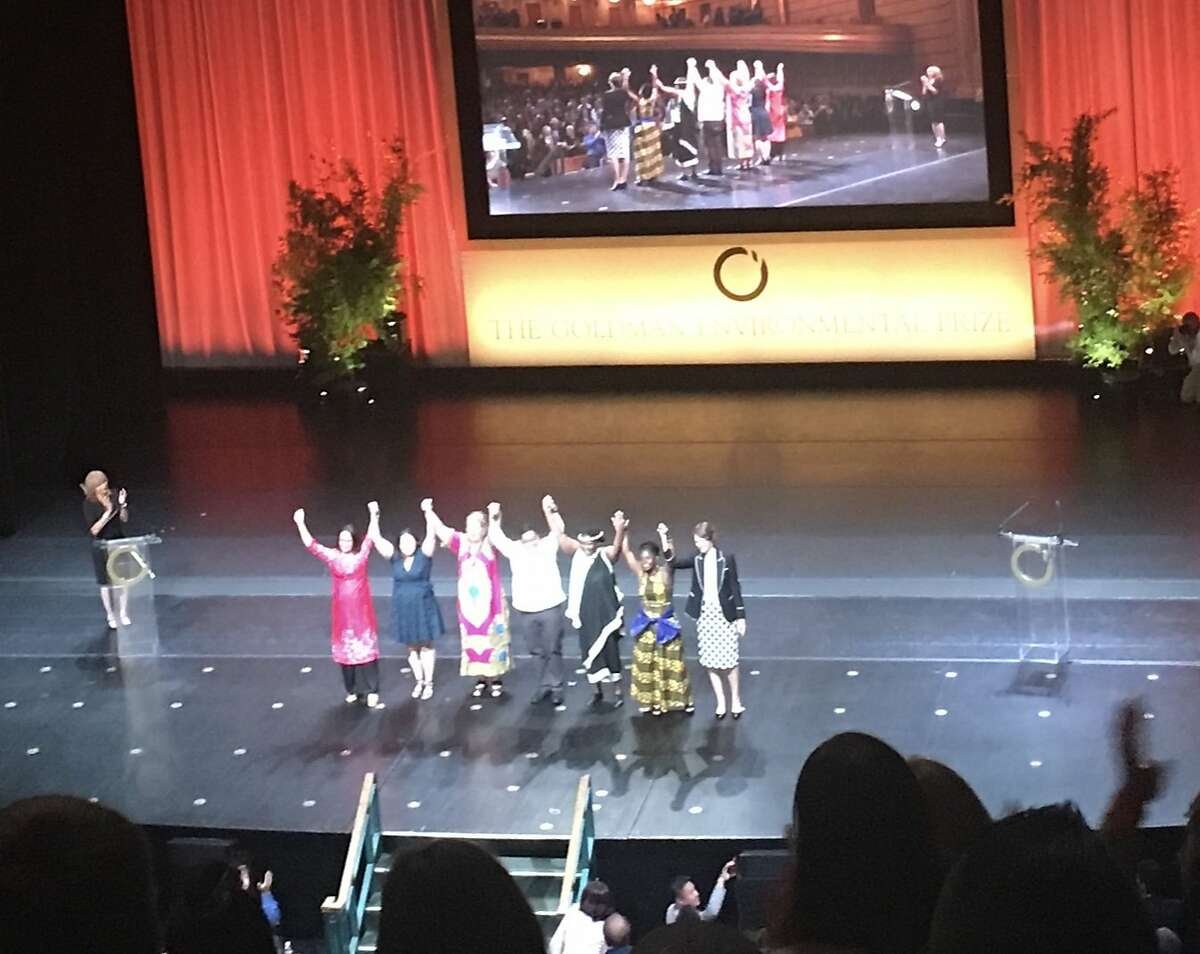 Winners of the 2018 Goldman Environmental Prize at the end of the ceremonies