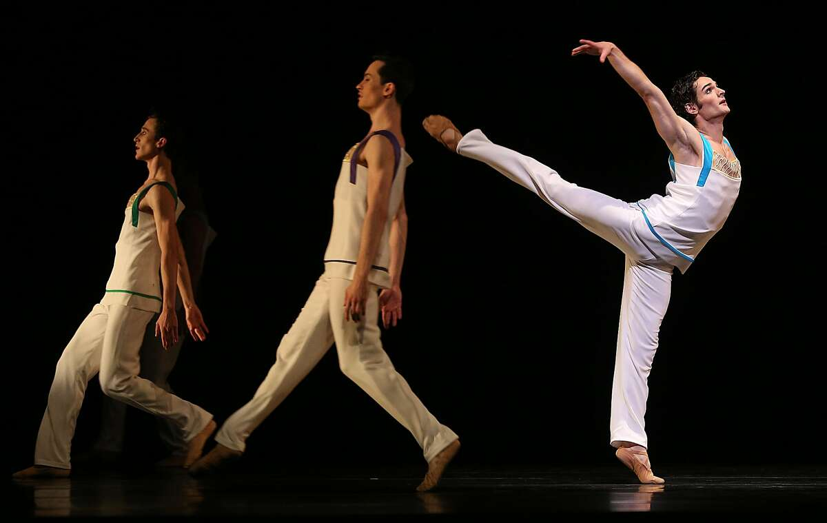 SF Ballet dancers Angelo Greco (right) rehearses 'Bespoke' in Unbound, the new works of San Francisco Film Festival, at the War Memorial Opera House on Tuesday, April 24, 2018, in San Francisco, Calif.