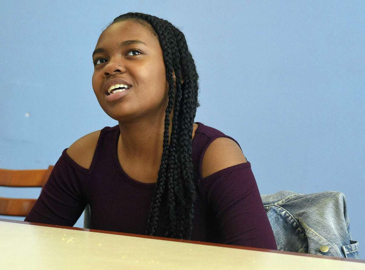 Stamford Academy sophomore Tim'Mya Minnifield, 15, who is the recipient of the Community Mediation's Pillsbury Youth Peacemaker award for April, is photographed during an interview at the school in Stamford, Conn. on April. 24, 2017. Minnifield helped organized a school walkout and is also a member of the school's improv and playwriting program.