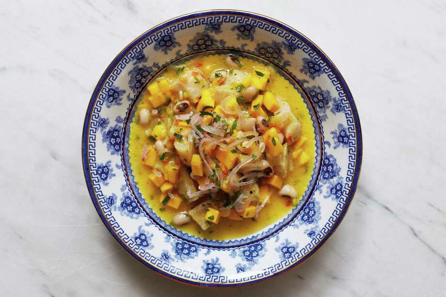 """Ceviche with Mango and Black-Eyed Peas from """"Paladares"""" by Anya von Bremzen. Photo: Megan Fawn Schlow / Abrams Books"""