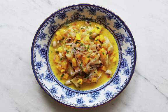"""Ceviche with Mango and Black-Eyed Peas from """"Paladares"""" by Anya von Bremzen."""
