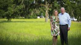 Philanthropists Rich and Nancy Kinder at Memorial Park, which will be transformed within the coming decade by their $70 million donation to the Memorial Park Conservancy, the largest park donation in Houston's history.