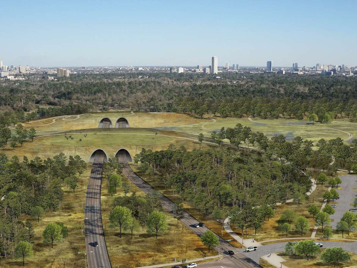 """A rendering of an aerial view of the """"central connector"""" land bridge that will cross Memorial Drive to reconnect the north and south sections of Memorial Park."""