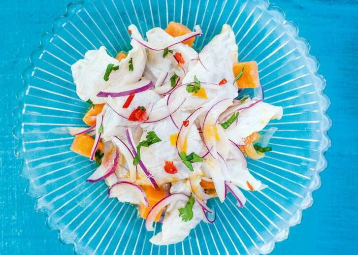 """Sea bass ceviche with sweet potatoes From """"Ceviche Peruvian Kitchen"""" by Martin Morales."""