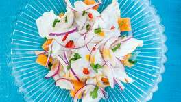 "Sea bass ceviche with sweet potatoes From ""Ceviche Peruvian Kitchen"" by Martin Morales."