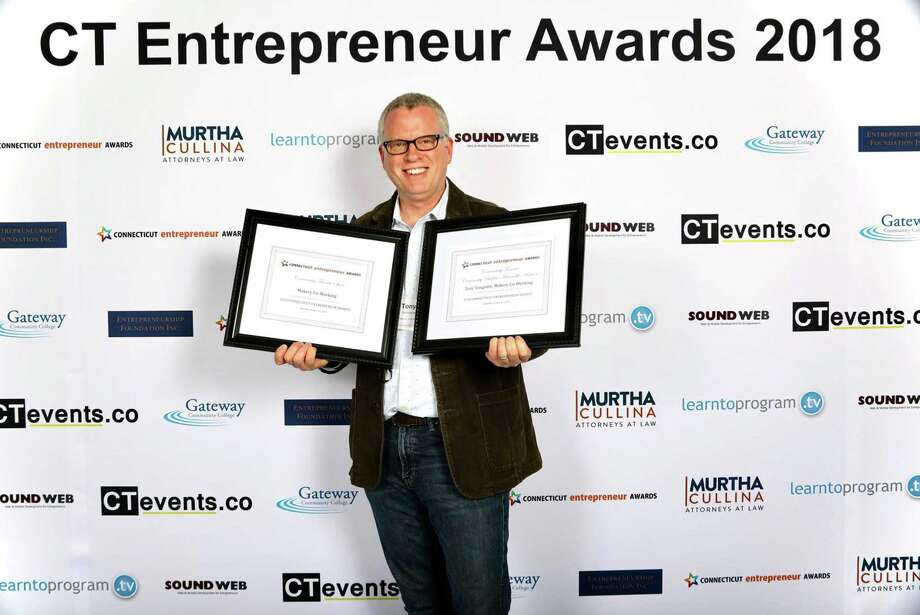 New Milford's Tony Vengrove of Makery Co-Working celebrates after earning recognition at the 2018 CT Entrepreneur Awards held in April 2018 at Gateway Community College in New Haven, Conn. Photo: Contributed Photo / Hearst Connecticut Media / The News-Times Contributed