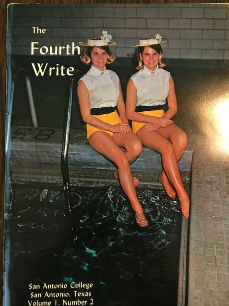 In 1968, Amabel and Amalea Hart were students at San Antonio College, where they also were synchronized swimmer, and appeared on the cover of the campus magazine Fourth Write. Photo: Courtesy / Courtesy