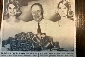 Amalea Hart, Miss Fiesta general director Reynolds Andricks and Amabel Hart in 1968, when the identical twins entered the Miss Fiesta contest as one contestant and won the title.