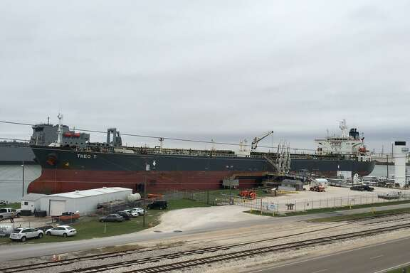A crude oil tanker is seen in Corpus Christi. San Antonio-based refiner Andeavor says it will participate in two joint ventures that will connect Permian Basin crude oil with Corpus Christi storage terminals.
