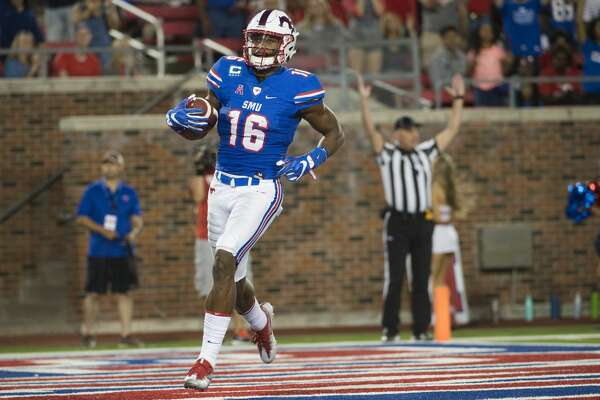 DALLAS, TX - SEPTEMBER 9:  Courtland Sutton #16 of the SMU Mustangs celebrates after scoring a touchdown against the North Texas Mean Green during the second half at Gerald J. Ford Stadium on September 9, 2017 in Dallas, Texas.  (Photo by Cooper Neill/Getty Images)