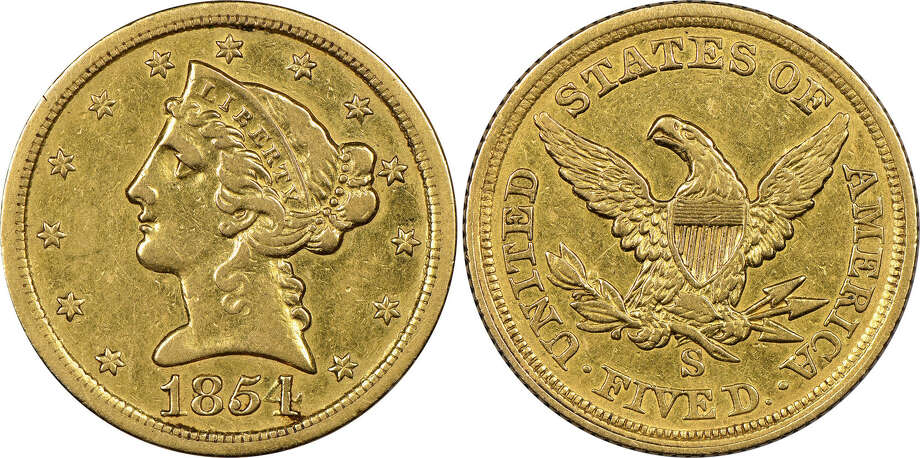 "Mistakenly believed by its anonymous New England owner to be a fake, this historic gold coin now has been authenticated as ""the discovery of a lifetime"" by Numismatic Guaranty Corporation (www.NGCcoin.com) in Sarasota, Florida as only the fourth known surviving example of a $5 denomination coin struck at the San Francisco Mint during the California Gold Rush in 1854.  It is worth millions of dollars, according to NGC. Photo: Hand-out/Numismatic Guaranty Corporation"
