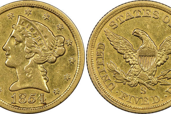 """Mistakenly believed by its anonymous New England owner to be a fake, this historic gold coin now has been authenticated as """"the discovery of a lifetime"""" by Numismatic Guaranty Corporation (www.NGCcoin.com) in Sarasota, Florida as only the fourth known surviving example of a $5 denomination coin struck at the San Francisco Mint during the California Gold Rush in 1854.  It is worth millions of dollars, according to NGC."""