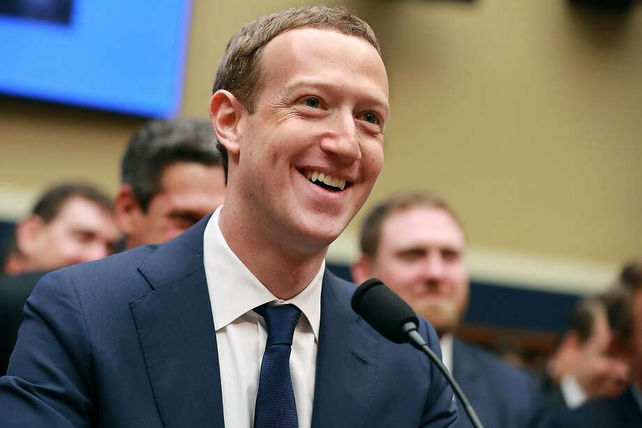Facebook Mark Zuckerberg, shown here at the conclusion of his testimony this month in Washington, has reason to keep smiling: His company handily beat expectations in its first-quarter earnings report, with advertising revenues up 50 percent year over year. Photo: Chip Somodevilla / Getty Images