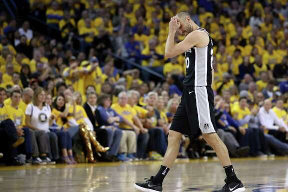 OAKLAND, CA - APRIL 24:  Manu Ginobili #20 of the San Antonio Spurs reacts after turning over the ball against the Golden State Warriors during Game Five of Round One of the 2018 NBA Playoffs at ORACLE Arena on April 24, 2018 in Oakland, California.  NOTE TO USER: User expressly acknowledges and agrees that, by downloading and or using this photograph, User is consenting to the terms and conditions of the Getty Images License Agreement.  (Photo by Ezra Shaw/Getty Images)