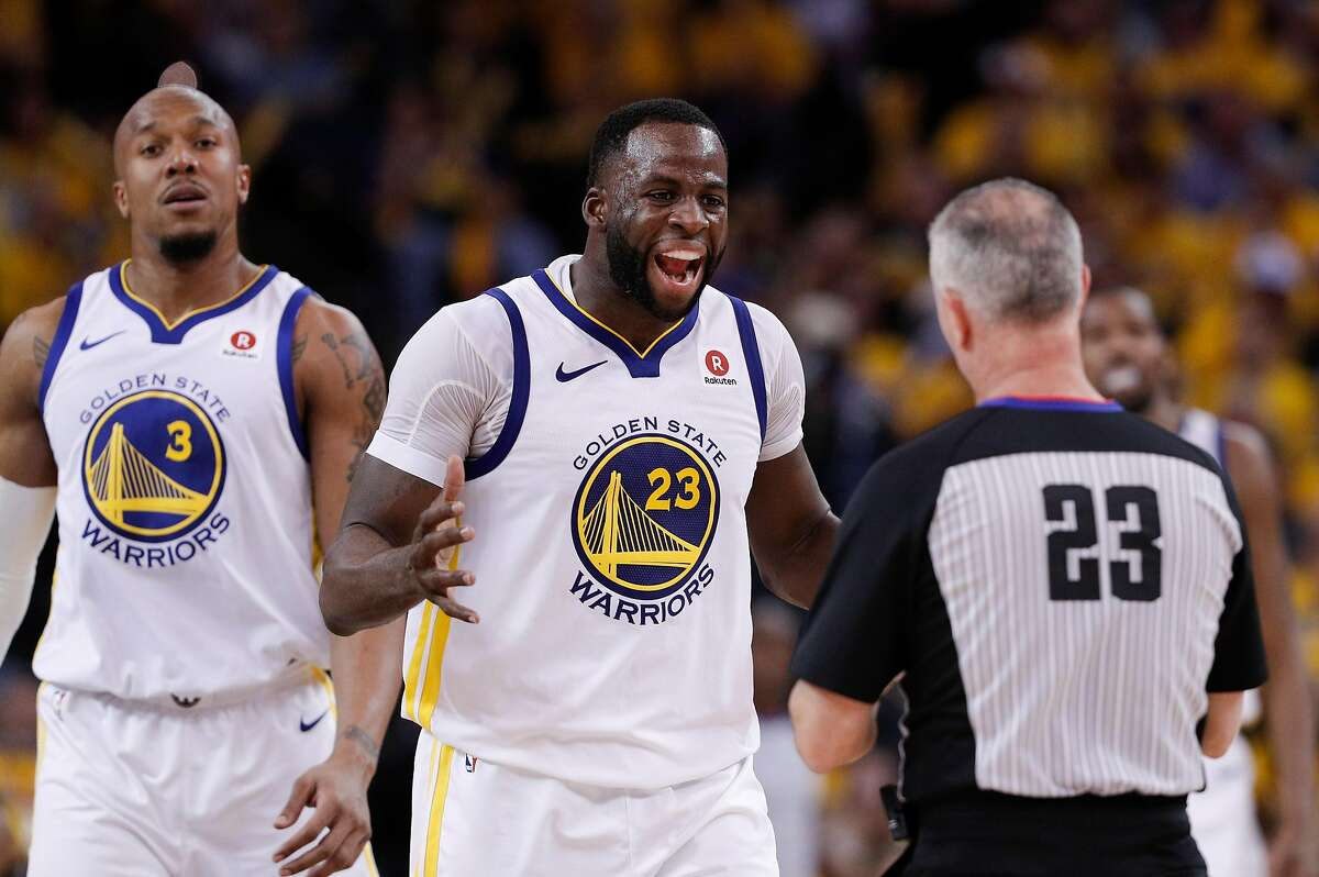 Golden State Warriors' Draymond Green argues a call in the fourth quarter during game 5 of round 1 of the Western Conference Finals at Oracle Arena on Tuesday, April 24, 2018 in Oakland, Calif.