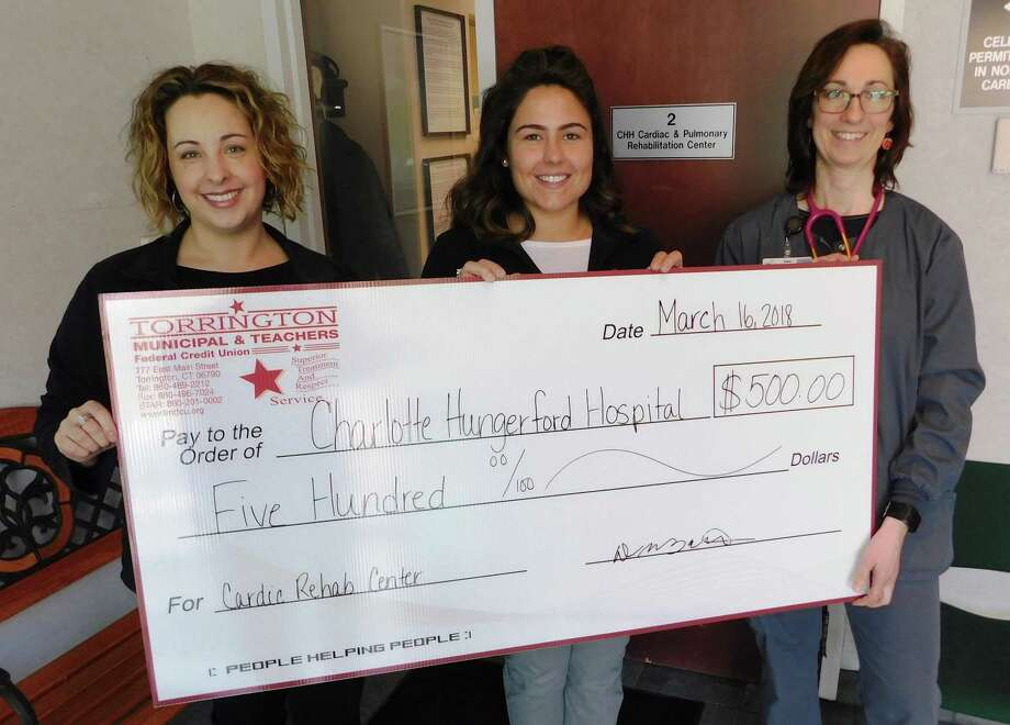 Charlotte Hungerford Hospital Cardiac Rehabilitation Program recently accepted a $500 donation from Torrington Municipal and Teachers Federal Credit Union be used to support services and equipment that help combat heart disease. Above, Loan Manager Beth Mazza, left, and Marketing Assistant Shaun Zbell, center, stopped by the Cardiac Rehab Center to present the check to Jenna Haley, MS, Coordinator of Cardiodiagnostics, meet the staff and see the center's offerings. Photo: Contributed Photo/Charlotte Hungerford Hospital
