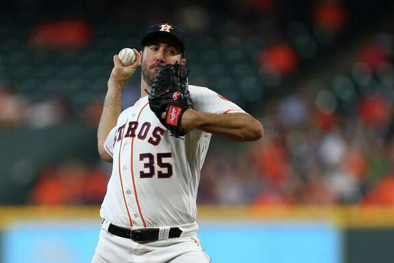 Houston Astros starting pitcher Justin Verlander (35) throws against the Los Angeles Angels during the first inning of an MLB game at Minute Maid Park Wednesday, April 25, 2018, in Houston.