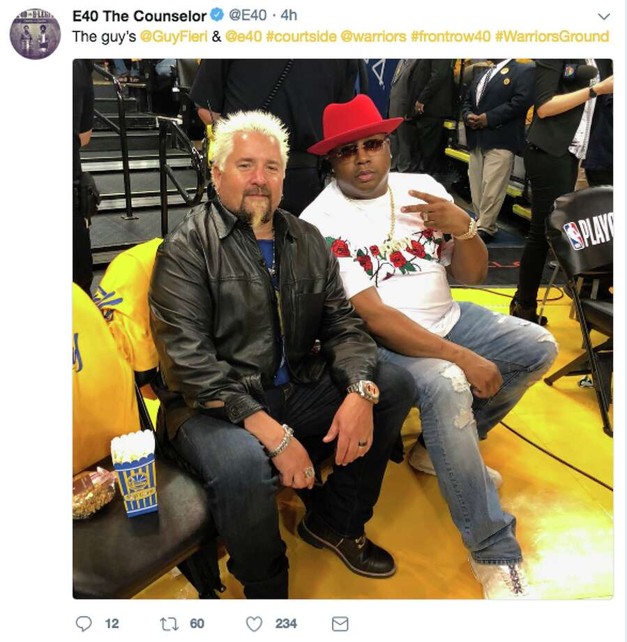 Celebrity chef Guy Fieri and rapper/beverage entrepreneur Earl Stevens stole the show at the Golden State Warriors game on Tuesday, April 25, 2018 at the Oracle Arena in Oakland. Photo: Twitter Screen Grab
