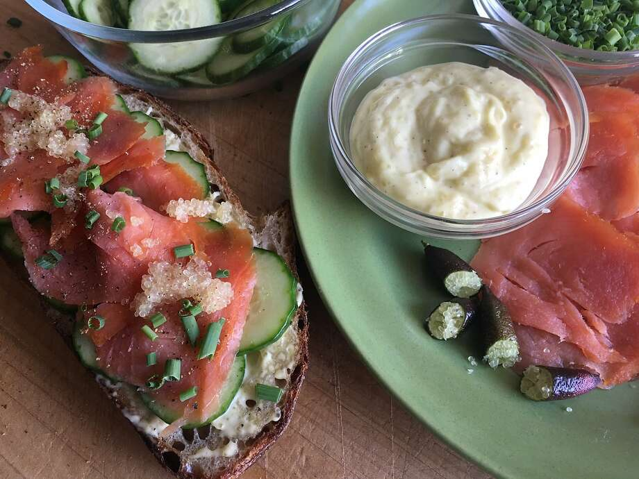 Smoked Salmon Toasts With Finger Lime Aioli Photo: Sarah Fritsche / The Chronicle