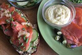 p.p1 {margin: 0.0px 0.0px 0.0px 0.0px; font: 13.0px Helvetica; -webkit-text-stroke: #000000} span.s1 {font-kerning: none}    Smoked Salmon Toasts With Finger Lime Aioli