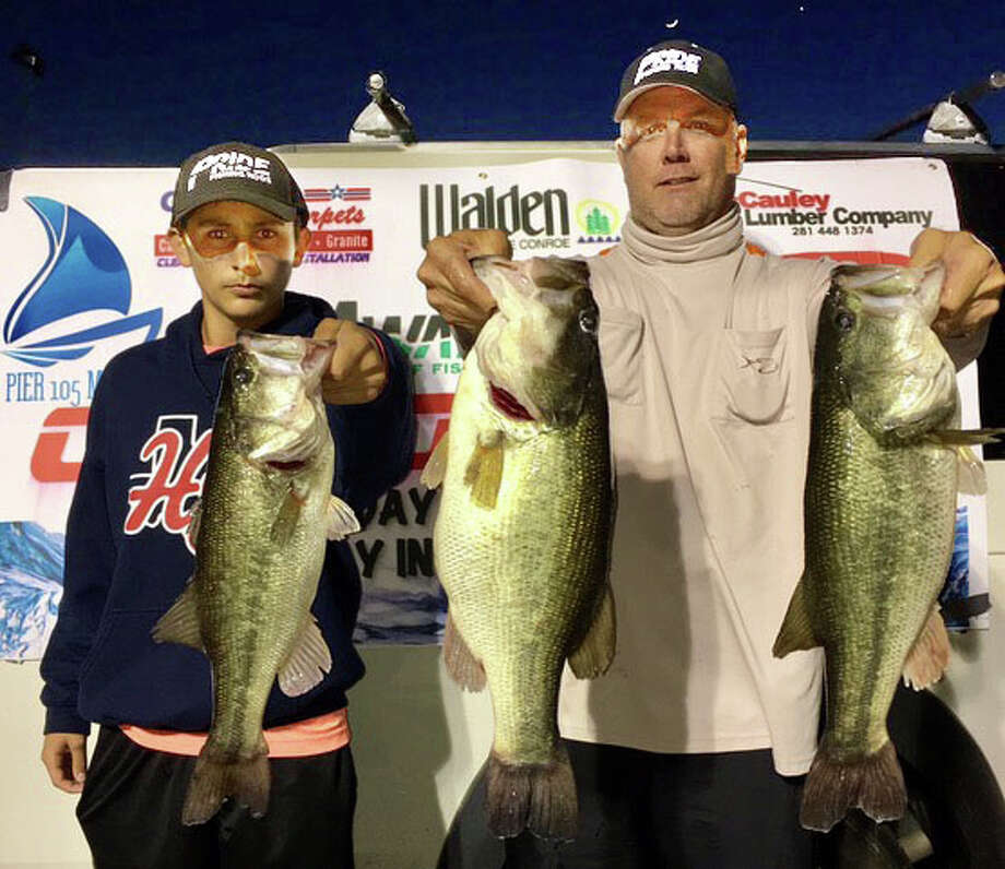 Trea Luedke and Braden Wales won the CONROEBASS Tuesday Tournament with a stringer total weight of 18.36 pounds. Photo: Conroe Bass