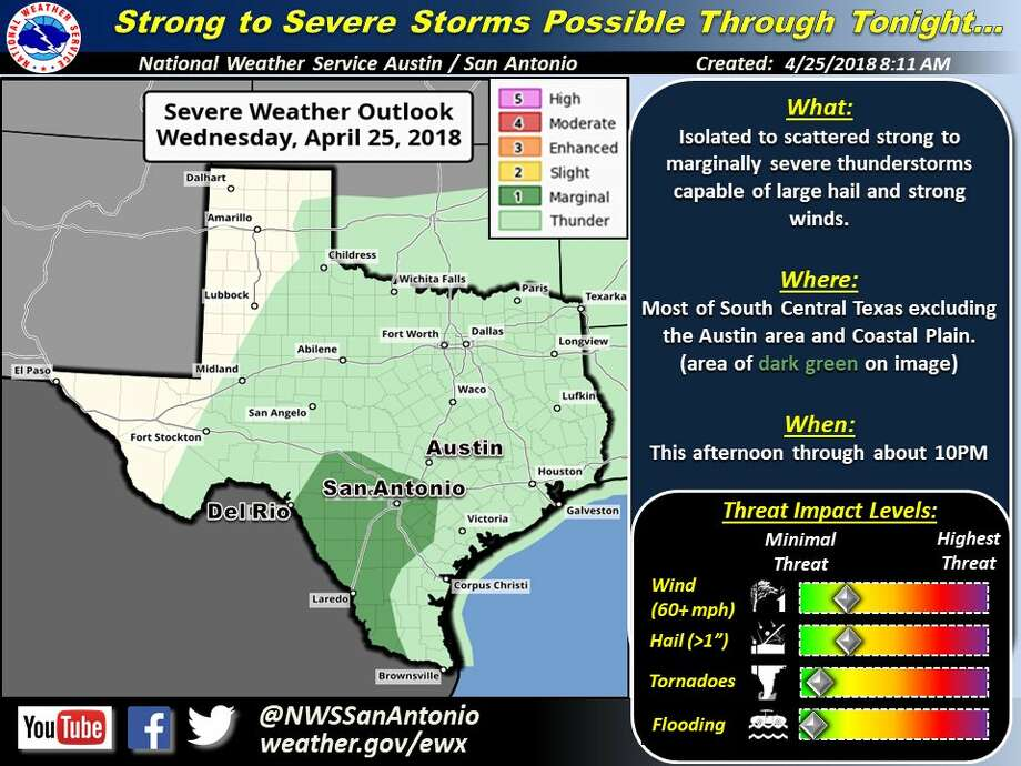 "The National Weather Service forecast includes ""much"" of South Central Texas including San Antonio is under a ""marginal risk for severe storm."""