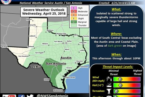 """The National Weather Service forecast includes """"much"""" of South Central Texas including San Antonio is under a """"marginal risk for severe storm."""""""