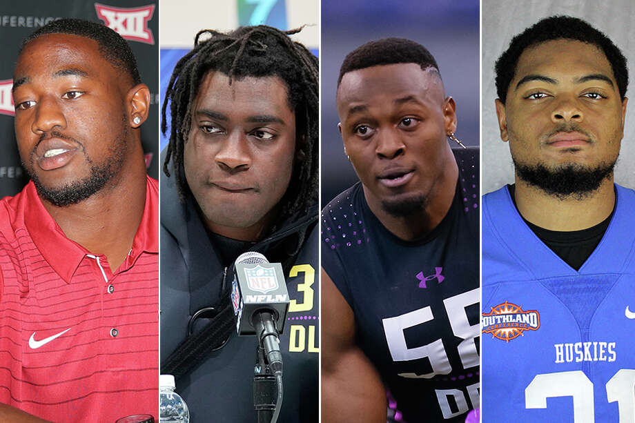 Former Alief Taylor teammates (from left) Ogbonnia Okoronkwo, Duke Ejiofor, Joshua Kalu and Chris Hardeman have maintained a tight bond during their college football careers. All are now eyeing a shot at the NFL. Photo: Houston Chronicle File And News Services