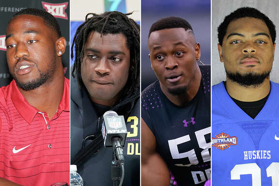 Former Alief Taylor teammates (from left) Ogbonnia Okoronkwo, Duke Ejiofor, Joshua Kalu and Chris Hardeman have maintained a tight bond during their college football careers. All are now eyeing a shot at the NFL.