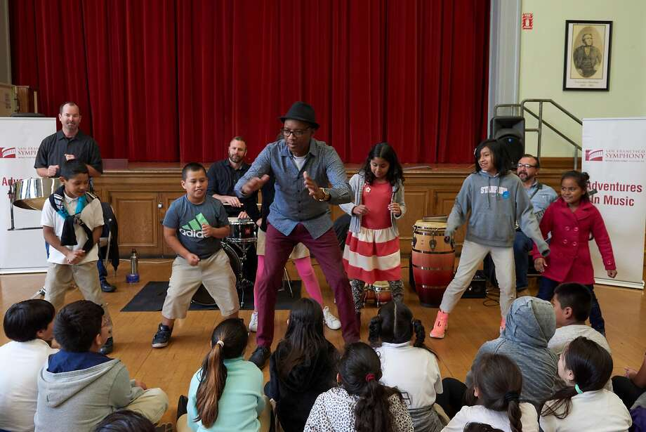 The band Caribbean Express performs at Sanchez Elementary School as part of the San Francisco Symphony's Adventures in Music program. Photo: Stefan Cohen