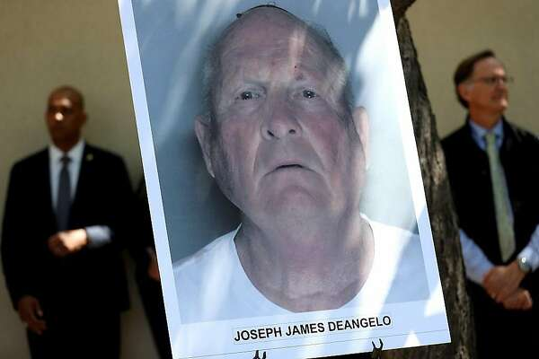 SACRAMENTO, CA - APRIL 25:  A photo of accused rapist and killer Joseph James DeAngelo is displayed during a news conference on April 25, 2018 in Sacramento, California. Sacramento district attorney Anne Marie Schubert was joined by law enforcement officials from across California to announce the arrest of 72 year-old Joseph James DeAngelo who is believed to be the the East Area Rapist, also known as the Golden State Killer, who killed at least 12, raped over 45 people and burglarized hundreds of homes throughout California in the 1970s and 1980s.  (Photo by Justin Sullivan/Getty Images)