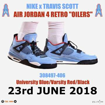 8cb8567a63b2 Travis Scott s new sneaker pays tribute to the Oilers ...