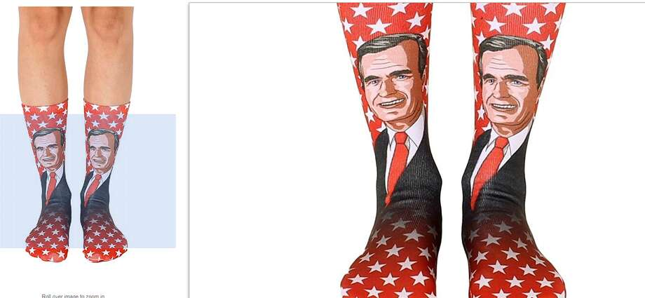 Amazon is selling a pair of socks featuring the face of President George H.W. Bush, who has become known over the past few years for his colorful footwear. Photo: Amazon