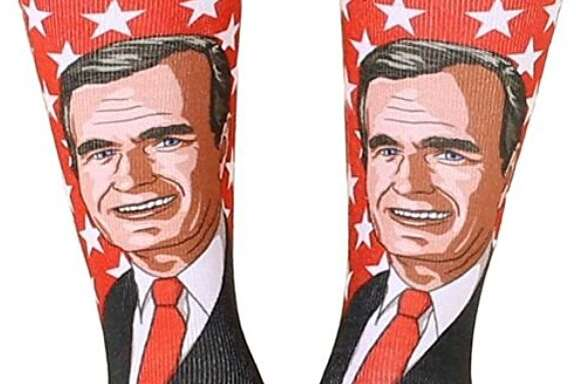 Amazon is selling a pair of socks featuring the face of President George H.W. Bush, who has become known over the past few years for his colorful footwear.
