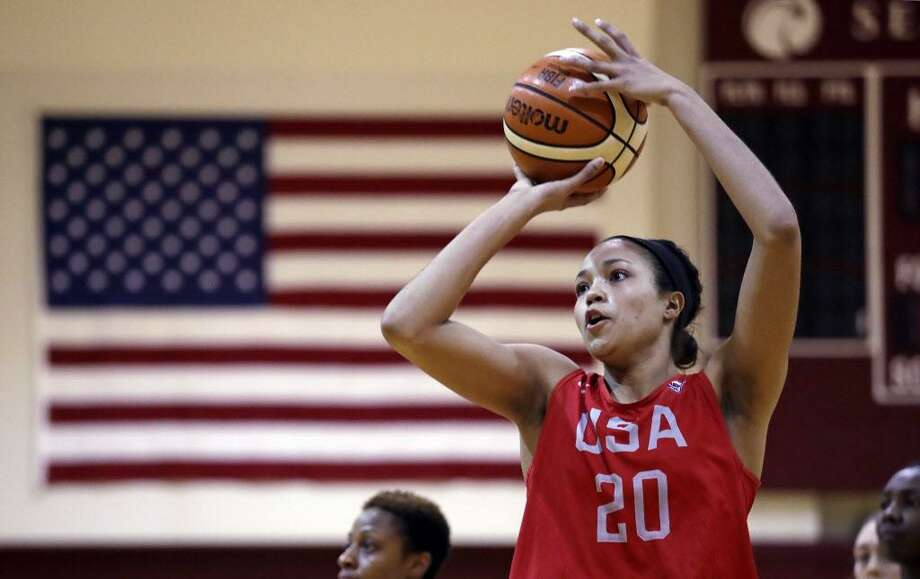 UConn's Napheesa Collier shoots during practice for the U.S. national team Tuesday in Seattle. The team plays an exhibition game against China on Thursday. Photo: Elaine Thompson / Associated Press / Copyright 2018 The Associated Press. All rights reserved.