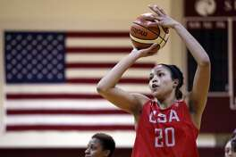 UConn's Napheesa Collier shoots during practice for the U.S. national team Tuesday in Seattle. The team plays an exhibition game against China on Thursday.