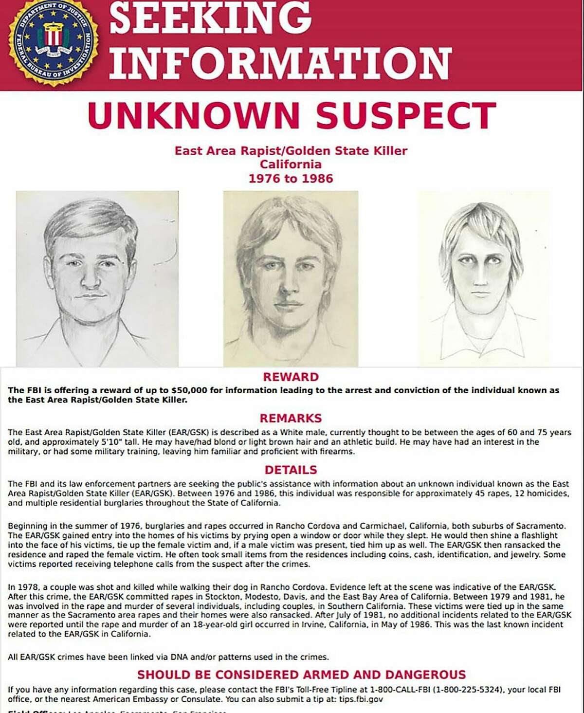 This FBI wanted poster obtained April 25, 2018 shows drawings of a suspect known as the