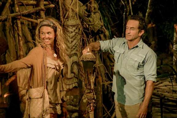 "MANA ISLAND - APRIL 13: ""The Sea Slug Slugger"" - Jeff Probst extinguishes Libby Vincek's torch at Tribal Council on the ninth episode of Survivor: Ghost Island, airing Wednesday, April 18 (8:00-9:00 PM, ET/PT) on the CBS Television Network. Image is a screen grab. (Photo by CBS via Getty Images)"