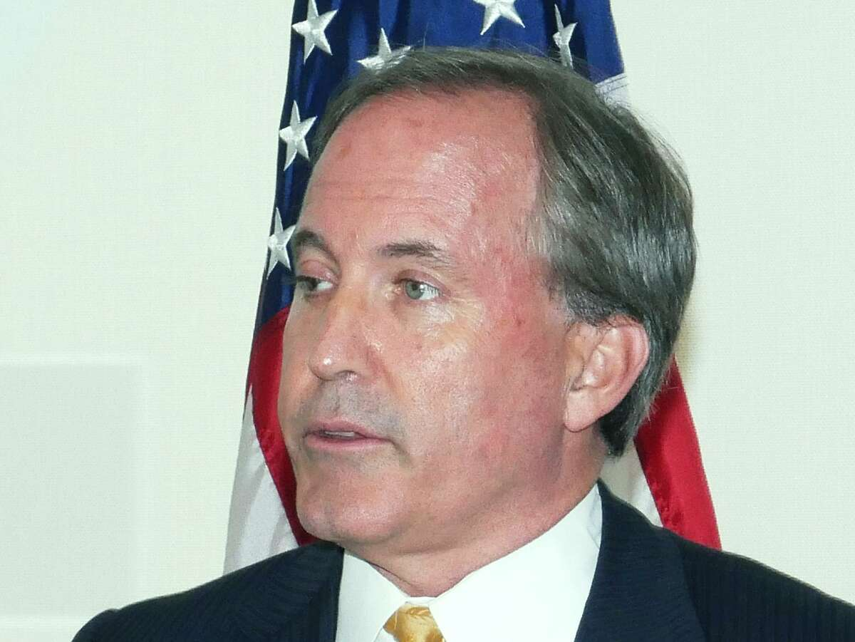 Texas Attorney General Ken Paxton pictured in Laredo on September 27, 2017, has intervened on behalf of the Cy-Fair ISD in a lawsuit brought by a student expelled because she didn't stand for the Pledge of Allegiance.