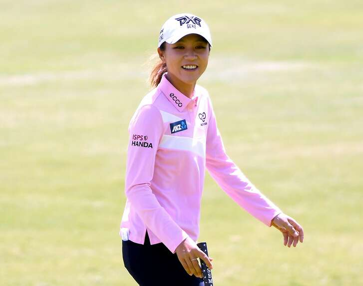 LOS ANGELES, CA - APRIL 19:  Lydia Ko of New Zealand smiles on the fith green during round one of the Hugel-JTBC Championship at the Wilshire Country Club on April 19, 2018 in Los Angeles, California.  (Photo by Harry How/Getty Images)