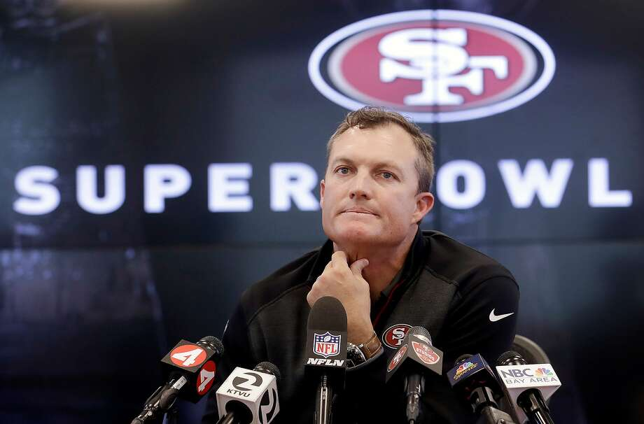 General manager John Lynch seemingly has more flexibility in this draft after acquiring quarterback Jimmy Garoppolo. Photo: Jeff Chiu / Associated Press