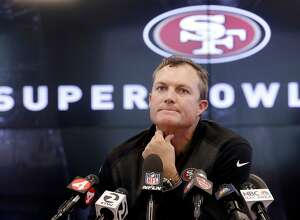 FILE - In this April 23, 2018, file photo, San Francisco 49ers general manager John Lynch speaks to reporters at the team's football facility in Santa Clara, Calif. Lynch felt like he had filled a hole at middle linebacker when he drafted Reuben Foster in the first round a year ago.  Now with Foster facing legal trouble and possible league punishment following three felony charges in a domestic violence case, Lynch heads into this year's draft knowing he can't count on Foster to play this season.  (AP Photo/Jeff Chiu, File)
