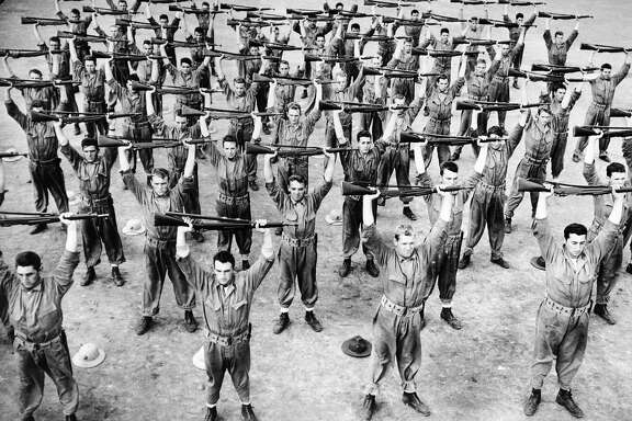 Recruits at the U.S. marine base on Parris Island, S.C., doing rifle drill as part of their training in 1942.