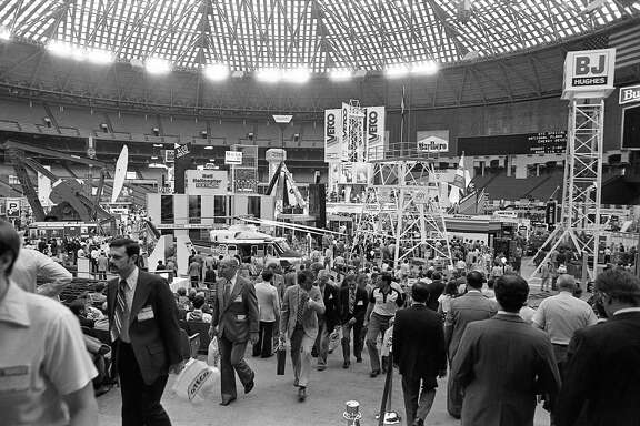 Thousands take in the array of material and equipment in 1982 at the 14th Offshore Technology Conference at the Astrodomain. Hundreds of exhibits blanketed the Astrodome, Astrohall and part of the parking lot for the four-day meeting.