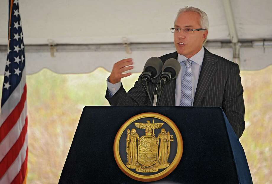 Joe Nicolla, president of Columbia Development Companies, speaks during an announcement that Monolith Solar will build its new headquarters, and research and development and manufacturing facility in the Vista Technology Campus at the Vista Technology Campus on Wednesday, Oct. 15, 2014 in Slingerlands, N.Y. (Lori Van Buren / Times Union) Photo: Lori Van Buren / 10029032A