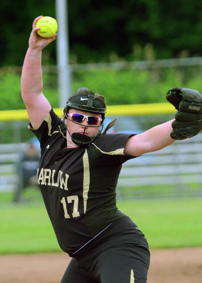 Joel Barlow's Claire McCann pitches against Fitch during Class L softball action in West Haven, Conn. on Thursday June 8, 2017. Photo: Christian Abraham / Hearst Connecticut Media / Connecticut Post