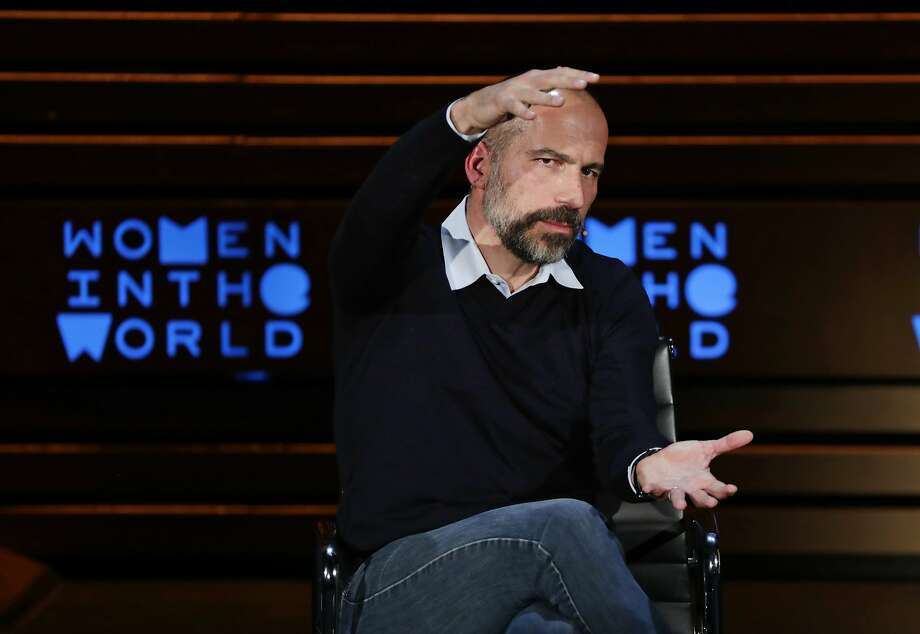 Uber CEO Dara Khosrowshahi is pushing several enterprises beyond the company's core ride-hailing business, but Uber has yet to show a profit. Photo: Frank Franklin II / Associated Press